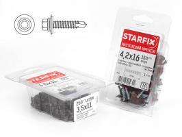 Саморез кровельный 4.8х35 мм цинк, шайба с прокл., PT1 (4500 шт в коробе) STARFIX (по дереву) (SM-83819-4500)
