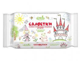 Салфетки влажные детские очищающие с ароматом Ромашка, 60 шт., ZALA JOY