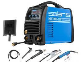 Полуавтомат сварочный Solaris MULTIMIG-228 (MIG-MMA-TIG) многофункц. (220В, Горелка MIG 3м, кабели 2м, доп.аксессуары)