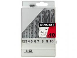 Набор сверл по мет. 1-10мм 10шт HSS Standard (Diager) (752С) (752C)